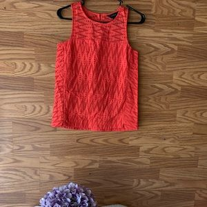 Seamed Shell In Zigzag Eyelet Top Sleeveless Coral